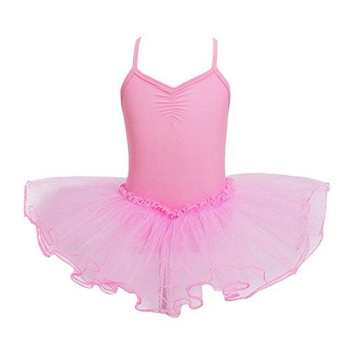 YiZYiF Mädchen Ballettanzug Ballettkleid Ballett Trikot Turnanzug Mädchen Kleider 98 104 110 116 122 128 140 152 164 (134-140, Rosa)