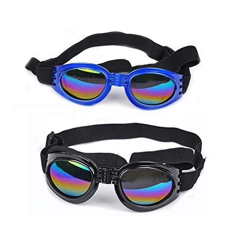 HUI JIN Gafas de perro con correa ajustable, protección contra el desgaste de los ojos, para viajes, esquí, impermeables, color negro y azul, 2 unidades