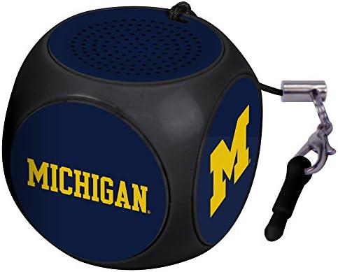 AudioSpice Michigan Wolverines MX 100 Cubio Mini Bluetooth Speaker Plus Selfie Remote Black product image