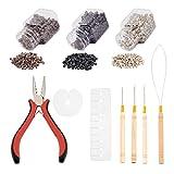 NBEADS Kit de herramientas de extensión de cabello, con protectores de PVC, micro anillos de aluminio, alicates de pelo ferro-níquel, agujas de gancho de ganchillo de hierro con mango