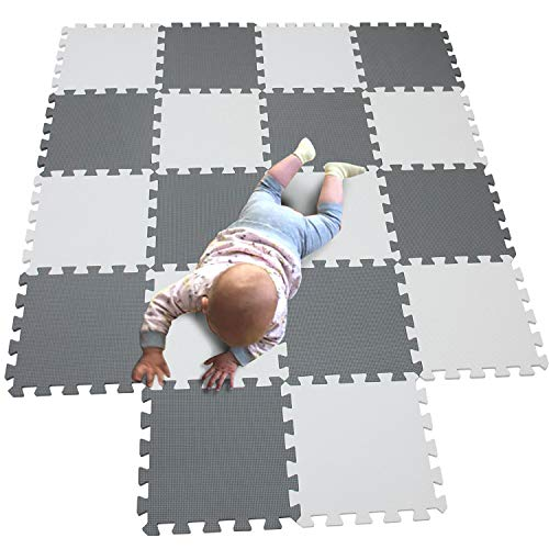 MQIAOHAM Baby Puzzle mat Baby playmat Plastic mats for Floor Shape Square Play Gym Toys Jigsaw Board Foam Tiles Cushions Soft Interlocking Exercise mats Garage Flooring Protector White Grey 101112