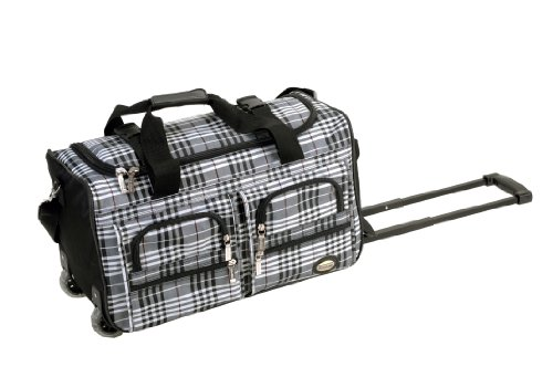 Rockland Rolling Duffel Bag, Black Cross Plaid, 22-Inch