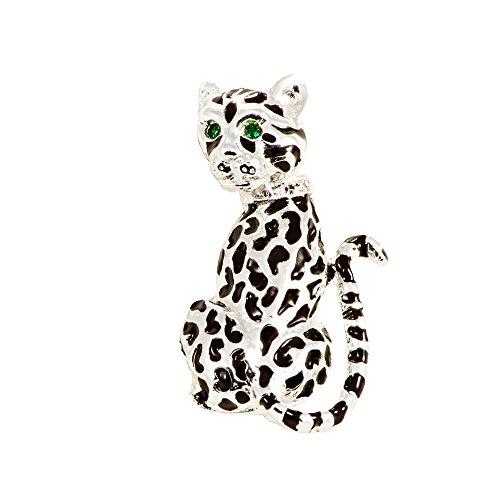 Broche de mujer leopardo esmalte pintado a mano, estrás, argentado, para chaqueta...