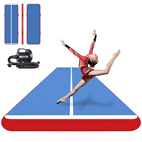 ibigbean Inflatable Air Tumbling Track - Blue Surface Red Side (27 feet)