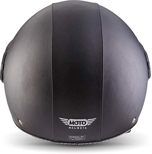Moto Helmets H44 Leather Black · Cruiser Bobber Vintage Vespa-Helm Biker Chopper Retro Mofa Moto Helmetsrrad-Helm Jet-Helm Helmet Pilot Scooter-Helm Roller-Helm · ECE zertifiziert · inkl. Sonnenvisier · inkl. Stofftragetasche · Grau · XL (61-62cm) - 4