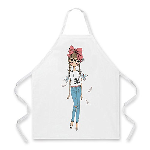 Coolflyer 100% Polyester Home Kitchen Apron, Machine Washable Apron, Girl