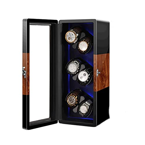 WRNM Cajas Giratorias para Relojes Madera Lujo para Relojes Pulsera 6+ 0 Estuche Almacenamiento Luz Ambiente LED Pintura Piano + Madera Pino Alta Densidad con Motor Silencioso