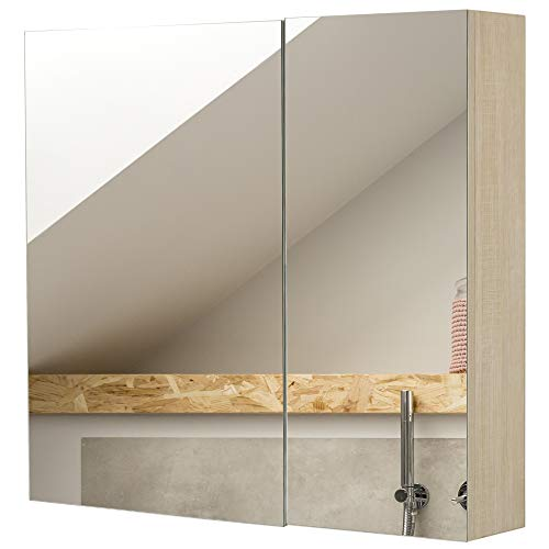 kleankin 26' x 24' Wall Mounted Bathroom Mirror Medcine Cabinet with Door Adjustable Shelves Oak Color