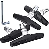 Hotop 2 Pairs V Bike Brake Pads with Hex Nuts and Spacers V Bicycle Brake Blocks Set 70 mm (Black)