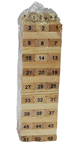 AdiChai Multi Coloured 51 Pcs Blocks 4 Dices Wooden Numbered Building Bricks Stacking Classic Traditional Toppling Tumbling Tower Game Kid Gift - Challenging Maths for Adults and Kids