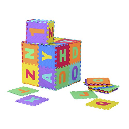 homcom Tappeto Puzzle per Bambini 26 Pezzi con Alfabeto, Tappeto Gioco Bimbi Palestra Antiscivolo