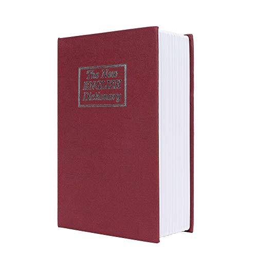 Caja de Seguridad Libro Estilo Diccionario Inglés Portátil Combinación de 3 Dígitos Código de Bloqueo Acero Rojo