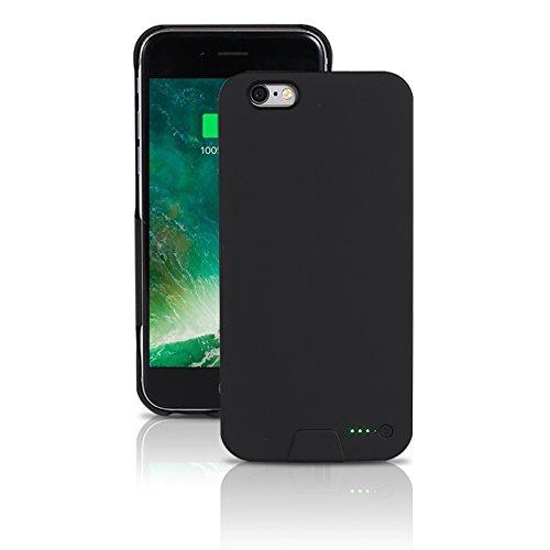 Funda de protección de batería móvil ultraligera para iPhone 6/6S - Funda de batería inalámbrica y recargable - Negro