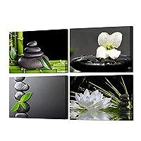 4パネルブラックゼンストーンポスターキャンバスウォールアートプリントホワイトオーキッドとロータスペインティングプリントグリーンバンブーピクチャージークレーアートワーク家の装飾
