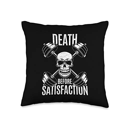 The Fitness Gym Workout Company Death Before Satisfaction Bodybuilder Throw Pillow, 16x16, Multicolor -  2A1J2050F34US_16X16