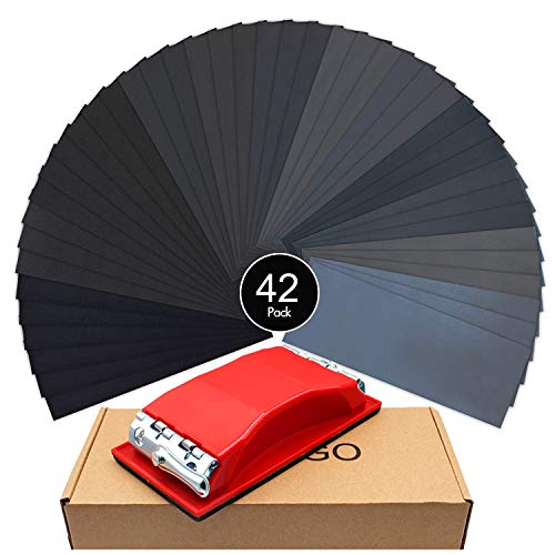 Wellgo Sanding Block With 42 pcs Sandpapers Wet Dry 120 to 3000 Assorted Grits Sandpapers, 9x3.6 Inch Sanding Sheets for Wood Furniture Finishing, Metal Sanding,Car Sanding,Glasses Sanding