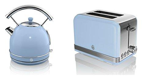 New Swan Kitchen Appliance Retro Set - Blue 1.7 Litre Dome Kettle & Blue Stylish Retro 2 Slice Toaster Set