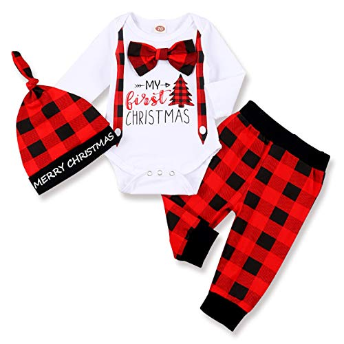 Infant Baby Boy Christmas Outfit My First Christmas Gentleman Romper Red Plaid Pants with Hat Clothes Sets