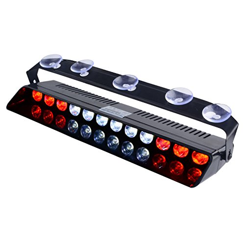 WOWTOU Emergency Light Red White, 16 Flashing Modes 12W Bright LED Strobe Lighting for Police, Volunteer EMT, EMS Vehicle Dash Deck Windshield