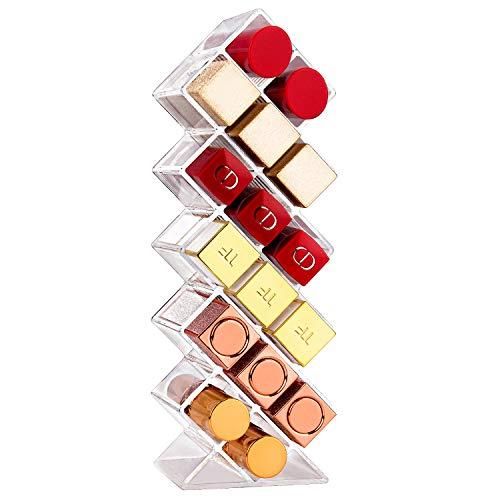 JessLab Lippenstift Organizer, Acryl Lippenstifthalter Lipgloss Tower Clear Kosmetika Makeup Organizer Aufbewahrung für Bad Waschtischplatte, 16 Steckplätze