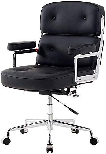 WSDSX Office Chairs Ergonomic Office Chair with Footrest and Wheels,Office Desk Chair,Executive Computer Chair PU Leather Swivel Chair,Durable and Stable, Height Adjustable(Black)
