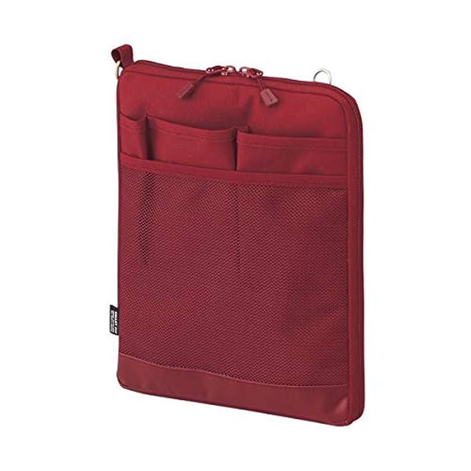 従う自我混合日用品 パソコン関連 (まとめ買い) バッグインバッグ (タテ型) A5 レッド 【×3セット】