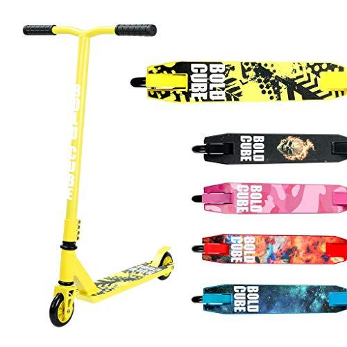 BOLDCUBE Freestyle Stunt Scooter Monopattino - PRO 360 Degree Trick - Ponte Leggero in Alluminio - con Cuscinetti a Sfera ABEC 7 – Robusto Morsetto Quad - per Adulti e Bambini (Giallo & Bianco)