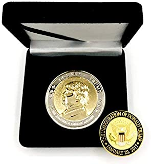"""Trump Coin, 58th Presidential Inauguration of Donald J. Trump Challenge Coin by AIIZ Collectibles, 1.75"""" Diameter in Shinny 24K Gold & 925 Silver Plating, packaged in Black Velvet Case"""