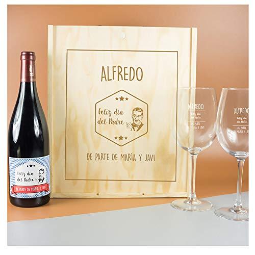 Kit con Botella de Vino + Copas de Vino + Caja de Madera. Todo ...