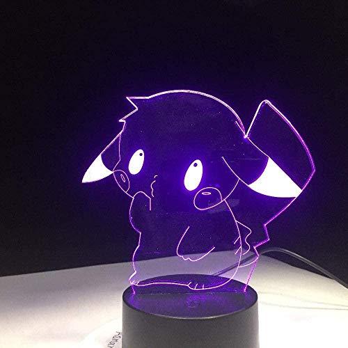 3D-Illusionslampe führte Nachtlicht Pikachu Pokemon Go Figur Eevee Turtle Vogel Feuer Drache Pokeball Ball Bulbasaur Bayrole Geschenk-16 colors remote