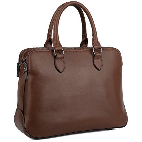 YALUXE Donna Borsa doppio Cerniera vera Pelle elegante Borse a spalla e Borse a tracolla adatto 13' Laptop