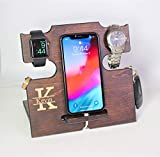 Personalized Gifts for Dad, Mens Cell Phone Stand, Wooden Desk Organizer, iPhone Docking Station - Nightstand Charging Station, Mens Wood Valet - Gift Ideas for Dad- Fathers Day Gifts
