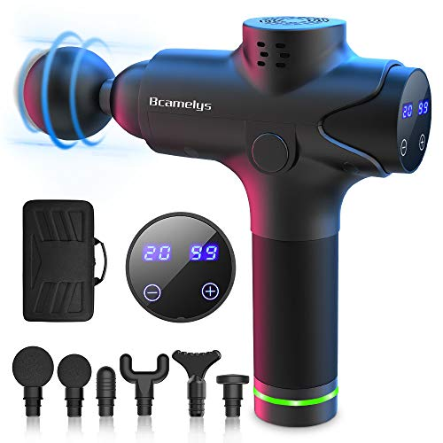 Bcamelys - Pistola massaggiante per collo, spalle, schiena, muscoli, con 6 testine massaggianti e dispositivo di vibrazione a 20 velocità