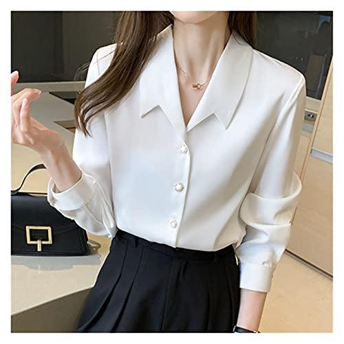 camicia donna coreana DAHDXD Camicie di Seta delle Donne Coreane Camicette Raso Camicette a Maniche Lunghe Donne Top Donna Blusa Bianca Tops Plus Size Donna Blocco Perline Camicetta (Color : White