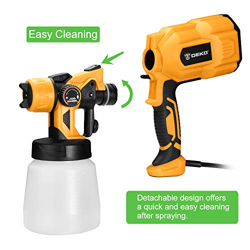DEKOPRO Paint Sprayer, 550 Watt High Power HVLP Home Electric Spray Gun,3 Nozzle Sizes, Lightweight, Easy Spraying and Cleaning
