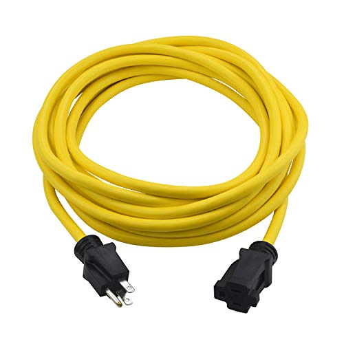 Clear Power 25 ft Heavy Duty Outdoor Extension Cord 12/3 SJTW, Water & Weather Resistant, Flame Retardant, Yellow, 3 Prong Grounded Plug, CP10144