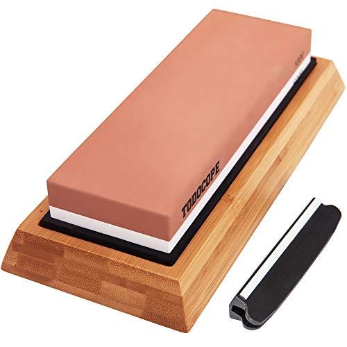 TODOCOPE Premium Schleifstein, Schleifstein, 2 Seiten, Körnung 1000/6000, Messerschärfer mit rutschfester Bambus-Basis und Winkelführung, Schleifstein-Schleifstein, weiß, Standgröße