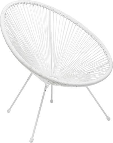 Kare Design Sessel Acapulco Weiß, moderner Acapulco Sessel, Gartenstuhl, Outdoorstuhl, Relaxsessel, Stuhl, Wetterfest, XXL Retro Chillsessel Outdoorgeeignet (H/B/T) 85x73x78cm