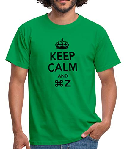 Geek Keep Calm and Command Z Männer T-Shirt, L, Kelly Green