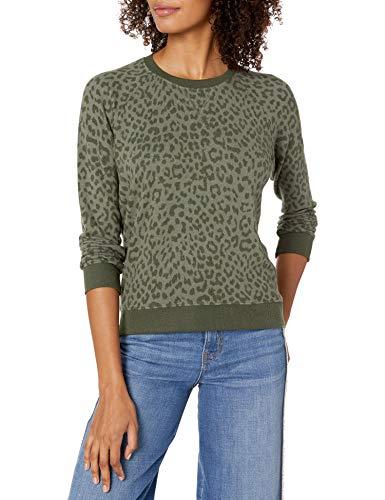 Lucky Brand Women's Cheetah Print Pullover Sweatshirt, Olive, XS