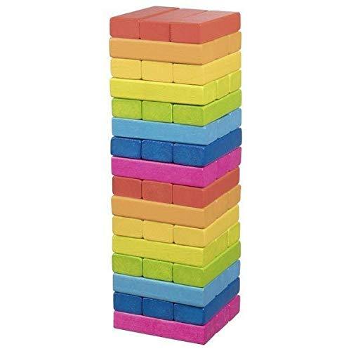 Geschicklichkeitsspiel Wackelturm Regenbogen: 7,5 x 7,5 x 24 cm, Holz, 48 Steine