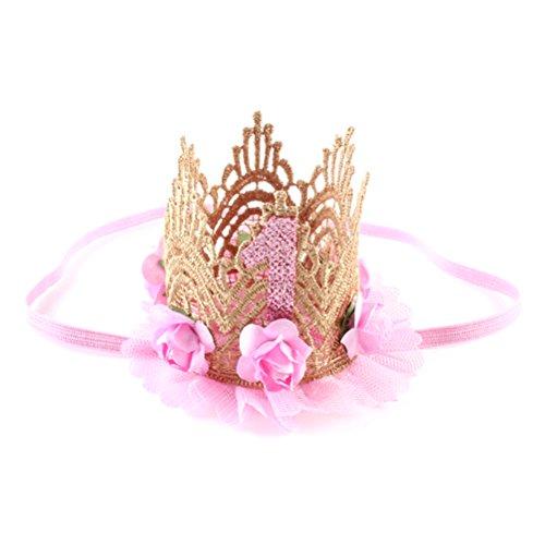 Tinksky Baby Krone 1 Jahr Geburtstag Baby Haarband Stirnband Haarschmuck Prinzessin (Hellrosa)