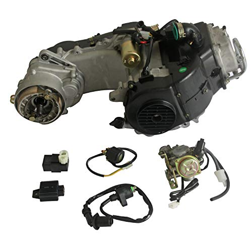 Motrocycle Engine GY6 50cc 4-stroke Scooter Engine Auto w/CVT Transmission For 10-inch wheel Electric Start for Scooter/ATV/DirtBike, Black