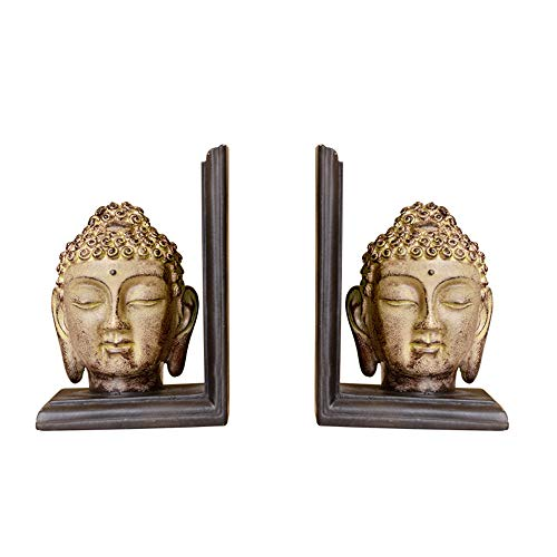 Decorative Bookends,Rustic Buddha Bookends,Polyresin,4.7 x 3.5 x 6.7 Inches,(Set of 2)