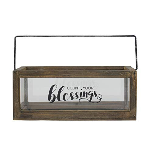 Stonebriar Count Your Blessings Rustic Rectangular Wood and Glass Tray Rail Candle Holder with Sentiment Saying, Brown