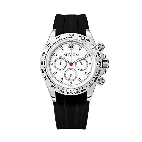 MIYEN MUNICH - Reloj de pulsera Lemans Silver de caucho negro 1140-23-1, cronógrafo, para hombre, cristal de zafiro, función taquímetro, 10 ATM.