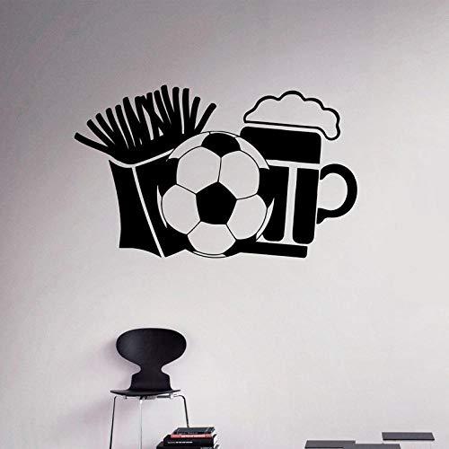 Terilizi Franse Fries Bier en Voetbal Muurstickers voor Bar Wallpaper Art Sticker Vinyl Decals Woonkamer Hobby Murals-70X42Cm
