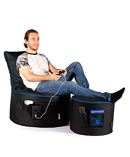 Maverick Gaming Set Sitzsack mit Sitzhocker/Fußbank Schwarz mit Keder Farben wählbar Beanbag mit Seitentaschen & Reißverschluss zum nachfüllen Playstation PS4 XBOX360 XboxOne Nintendo (Blau)
