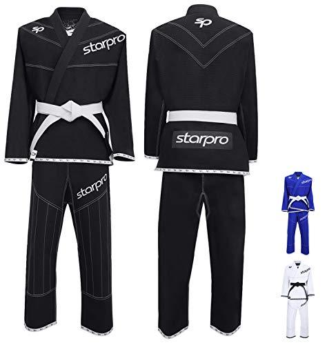 Starpro Trajes de BJJ Gi Brasileñas - Lucha de Karate Jiu-Jitsu Uniformes Kimonos Entrenamiento Profesional y Competencia Artes Marciales | Tela Algodón Blanco Negro Preencogido Para Hombres y Mujeres