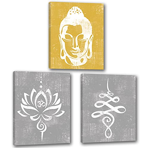 Rustic Buddha Wall Art Lotus Flower Wall Décor Buddha Poster Yoga Paintings for Bedroom Yellow and Green Zen Wall Décor for Living Room Set of 3 Buddha Canvas Wall Art for Home UNFRAMED 12X16 Inch